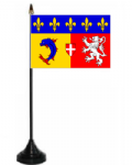 Rhône-Alpes Desk / Table Flag with plastic stand and base.